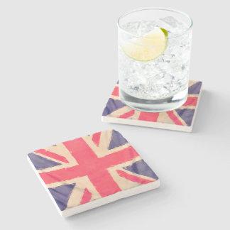 UNION JACK FLAG grunge Stone Beverage Coaster