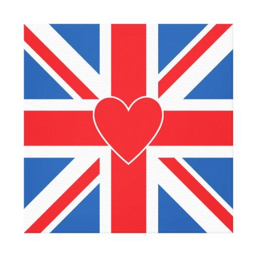 Union Jack Flag & Heart Canvas Print
