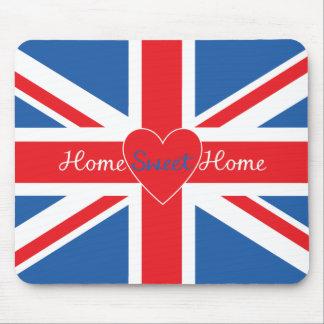 Union Jack Flag, Home Sweet Home & Heart Mouse Pad