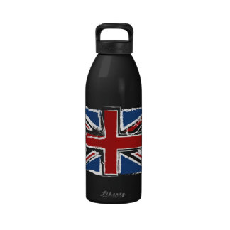 Union Jack Flag in Abstract Scribbles Drinking Bottles