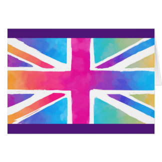 Union Jack Flag in Bright Watercolors Card