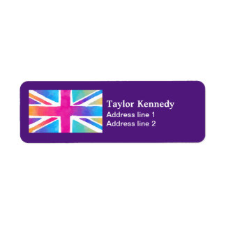 Union Jack Flag in Bright Watercolors Label