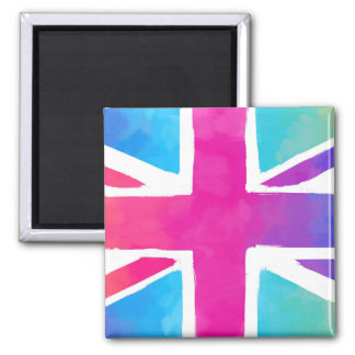 Union Jack Flag in Bright Watercolors Magnet