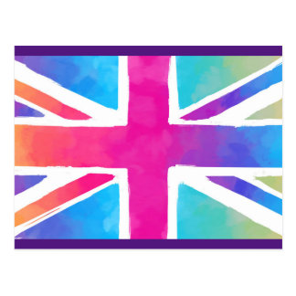 Union Jack Flag in Bright Watercolors Postcard