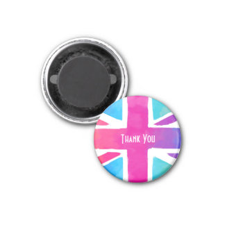 Union Jack Flag in Bright Watercolors Thank You Magnet