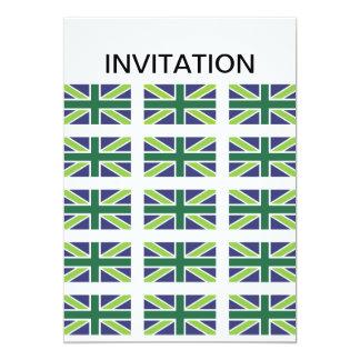 Union Jack Flag in Green Invitation