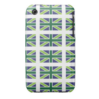 Union Jack Flag in Green Iphone 3 Case-Mate iPhone 3 Cases