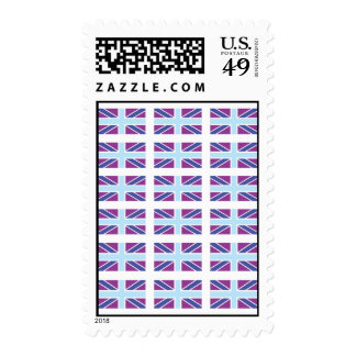 Union Jack Flag in Purple and Blue Postage