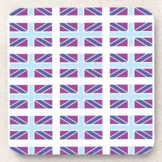 Union Jack Flag in Purple/Blue Coaster set of 6