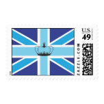 Union Jack Flag in shades of Blue Postage/Stamp