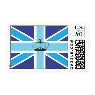 Union Jack Flag in shades of Blue Postage/Stamp Postage
