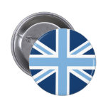 Union Jack Flag in Sky and Navy Blue Pinback Button