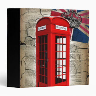 union jack flag jubilee crown red telephone booth 3 ring binder