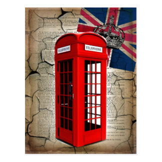 union jack flag jubilee crown red telephone booth postcard