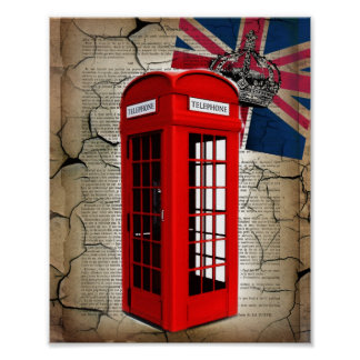 union jack flag jubilee crown red telephone booth poster