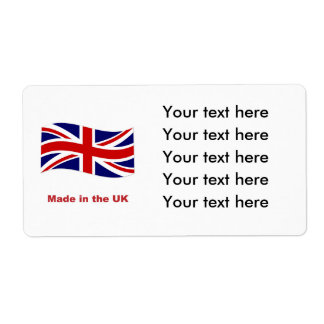 Union jack flag made in the uk template labels