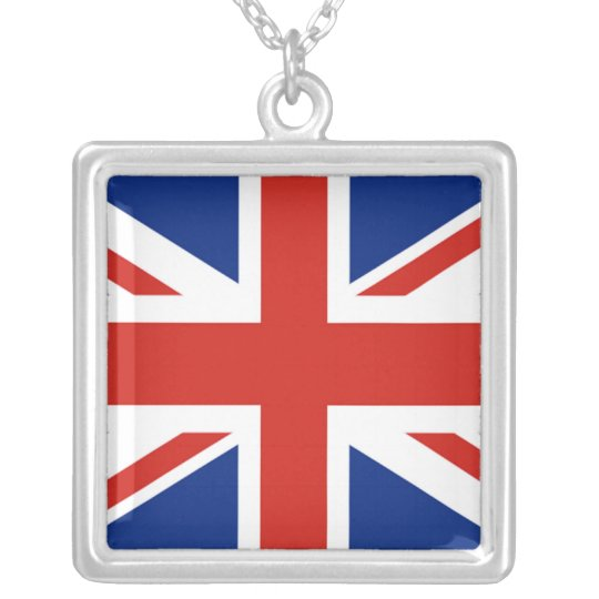 Union Jack - Flag of Great Britain Silver Plated Necklace