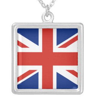 Union Jack - Flag of Great Britain Square Pendant Necklace