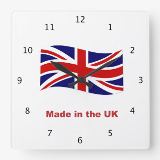 Union Jack Flag of UK, England, made in england Square Wall Clock
