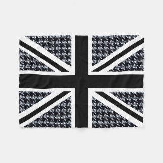 Union Jack Flag on Black and White Houndstooth Fleece Blanket