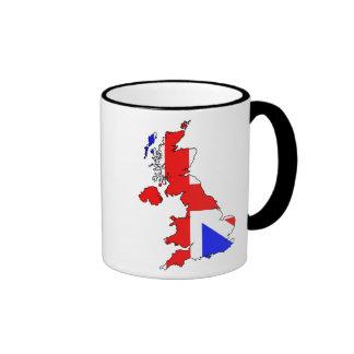 Union Jack Flag on British Map Mug