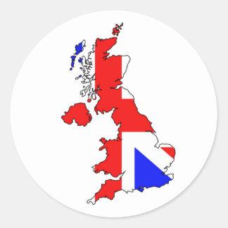 Union Jack Flag on British Map Sticker