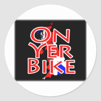 Union Jack Flag On Map Of Britain - On Yer Bike Classic Round Sticker