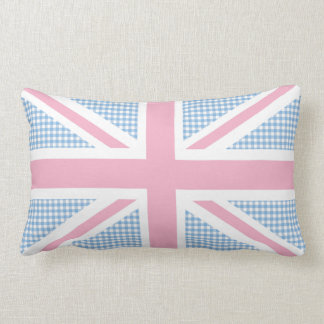Union Jack Flag Pastel Gingham Pattern Throw Pillow
