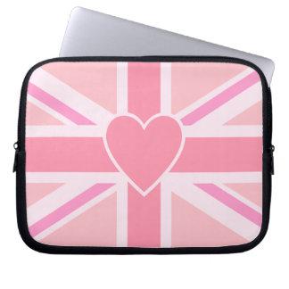 Union Jack/Flag Pinks & Heart Computer Sleeve