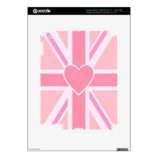 Union Jack/Flag Pinks & Heart (Vertical) Skin For iPad 3