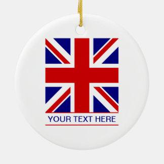 Union Jack Flag Plus Your Text Ceramic Ornament