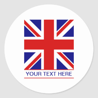 Union Jack Flag Plus Your Text Classic Round Sticker