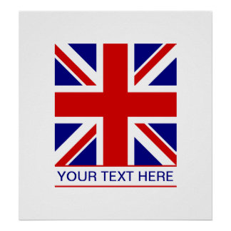 Union Jack Flag Plus Your Text Poster