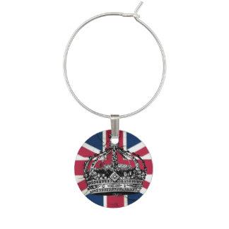 Union Jack Flag Queen of England Diamond Jubilee Wine Charm