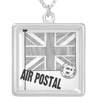 Union Jack Flag Silver Plated Necklace
