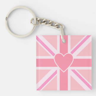 Union Jack/Flag Square Pinks & Heart Keychain