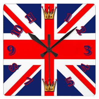 Union Jack Flag Square Wall Clock