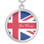 Union Jack Flag Sterling Silver Necklace