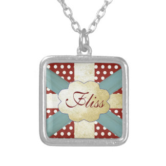 Union Jack Flag Style Pattern Red Gold and Blue Custom Necklace