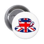 Union Jack flag teacup art Pinback Button