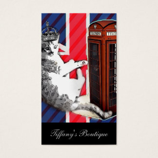 union jack flag telephone booth crown kitty cat business card