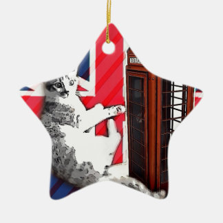 union jack flag telephone booth crown kitty cat ceramic ornament