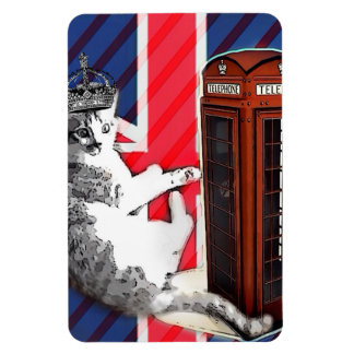union jack flag telephone booth crown kitty cat magnet