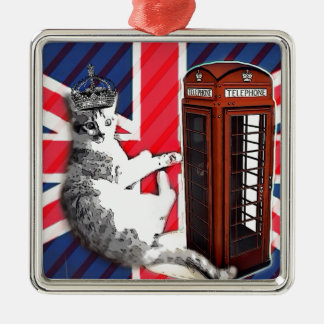 union jack flag telephone booth crown kitty cat metal ornament