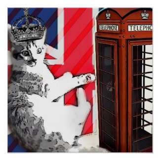 union jack flag telephone booth crown kitty cat poster