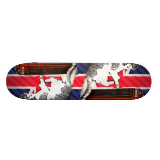 union jack flag telephone booth crown kitty cat skateboard deck