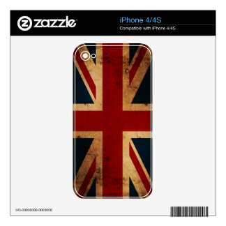 Union Jack Flag (vintage distressed) iPhone Skin Decal For iPhone 4S
