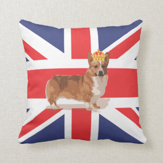 Union Jack Flag with Corgi and Crown Pillow