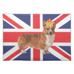 Union Jack Flag with Corgi and Crown Placemat