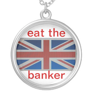 union jack flag with ..eat the banker silver plated necklace